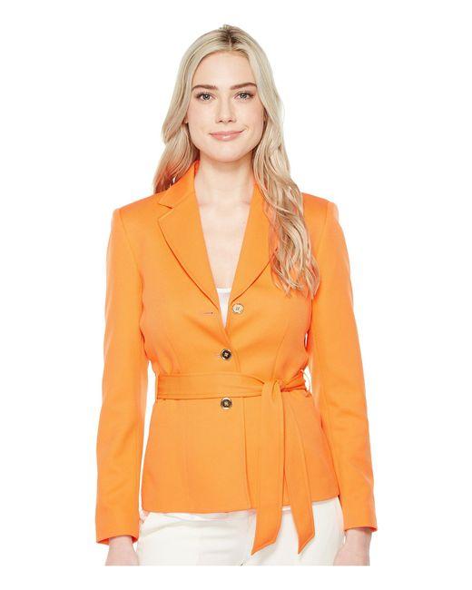 Tahari | Orange Novelty Three-button Jacket W/ Belt | Lyst