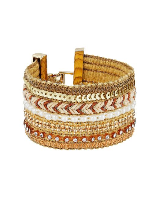 Guess | Metallic Wide Mixed Media Chain Luxe Bracelet | Lyst