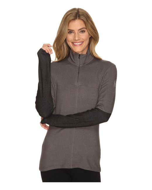 Spyder - Gray Lapis Therma Stretch T-neck Top - Lyst