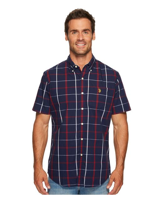 U.S. POLO ASSN. - Blue Classic Fit Short Sleeve Sport Shirt for Men - Lyst