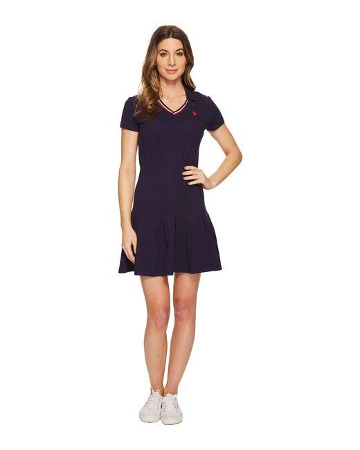 U.S. POLO ASSN. - Blue Pleated Polo Dress - Lyst