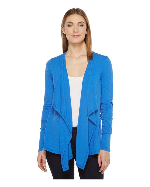 Mod-o-doc - Blue Slub Jersey Draped Front Cardigan - Lyst
