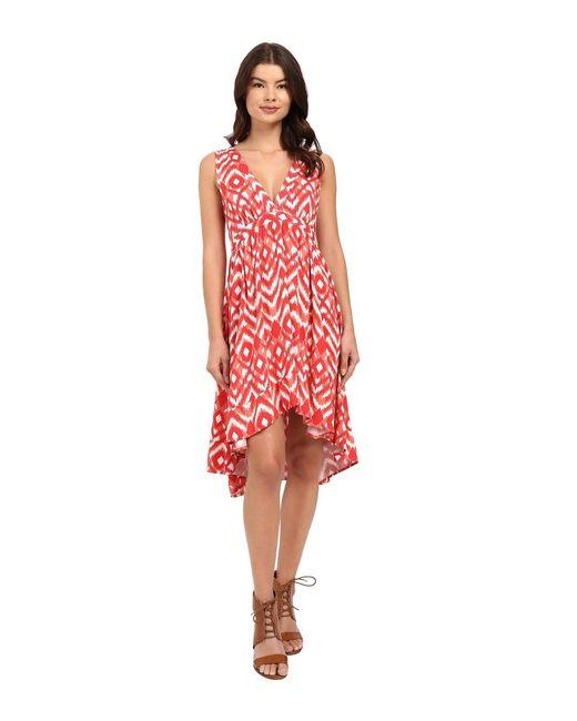 BB Dakota - Red Brianna Jallabah Printed Rayon Dress - Lyst