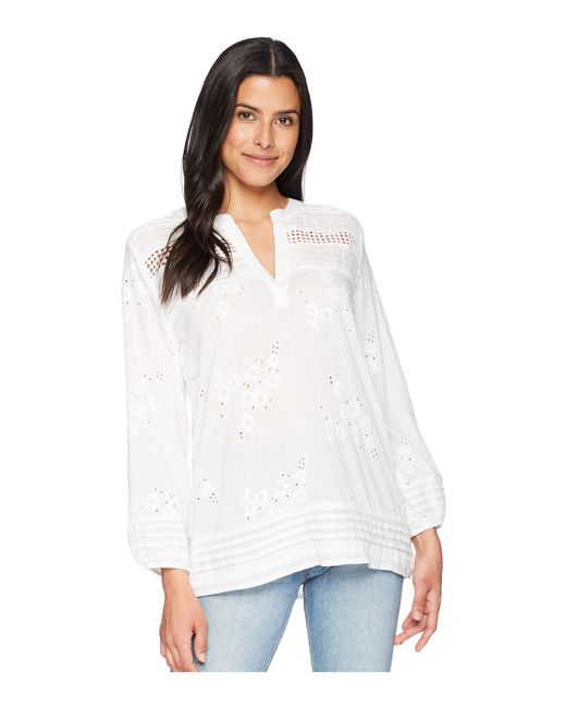 Dylan By True Grit - White Rosalie Pintuck Cotton Voile Embroidery Blouse - Lyst