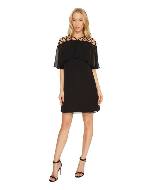 Cece - Black Taylor - Popover Lattice Chiffon Dress - Lyst