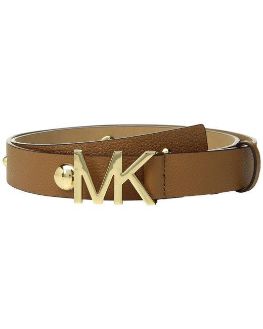 MICHAEL Michael Kors - Brown Leather Belt W/ Dome Studs - Lyst