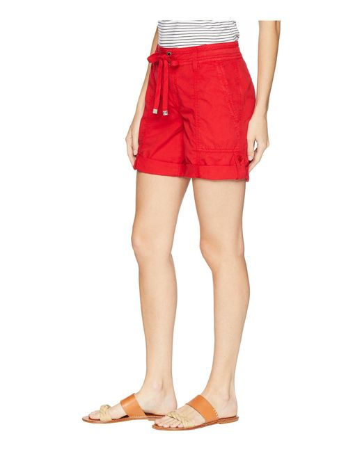 a784113e8ee ... Lauren by Ralph Lauren - Red Cotton Twill Drawstring Shorts - Lyst ...