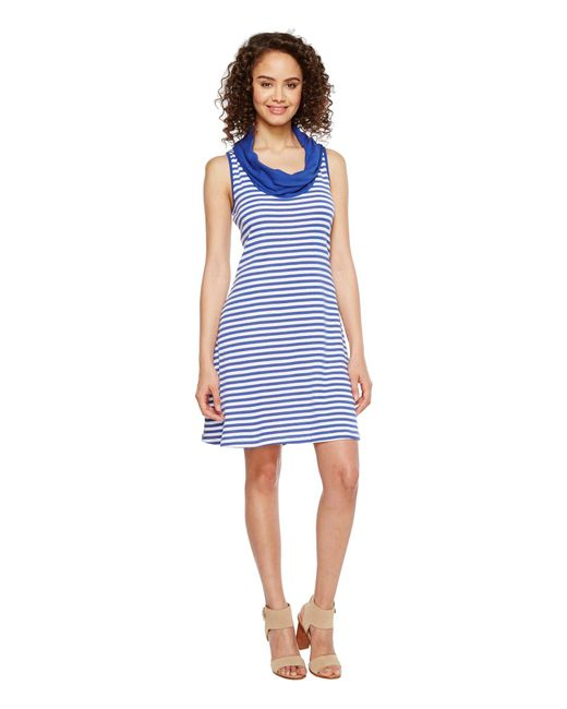 Three Dots - Blue Mykonos Stripes Cowl Neck Dress - Lyst