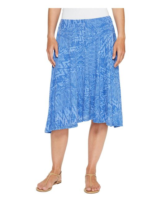Mod-o-doc - Blue Patchwork Burnout Jersey Swing Skirt With Lining - Lyst