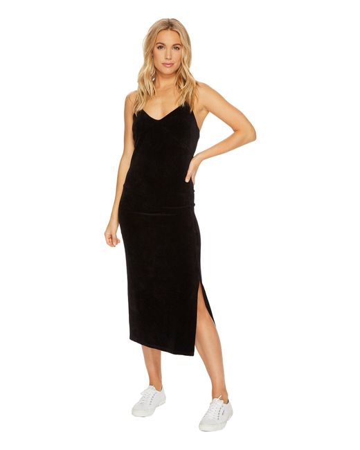 Juicy Couture - Black Stretch Velour Cross-back Slip Dress - Lyst
