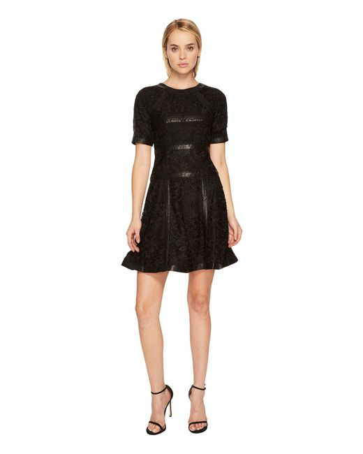 The Kooples - Black Lace Dress With Stripes - Lyst