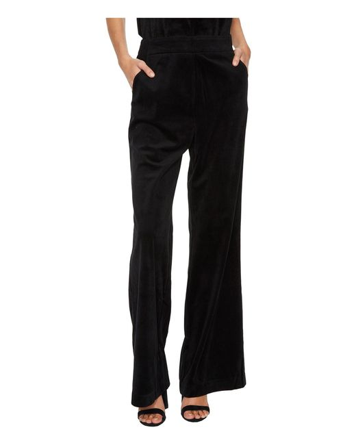 Bishop + Young - Black Velvet Wide Leg Pants - Lyst