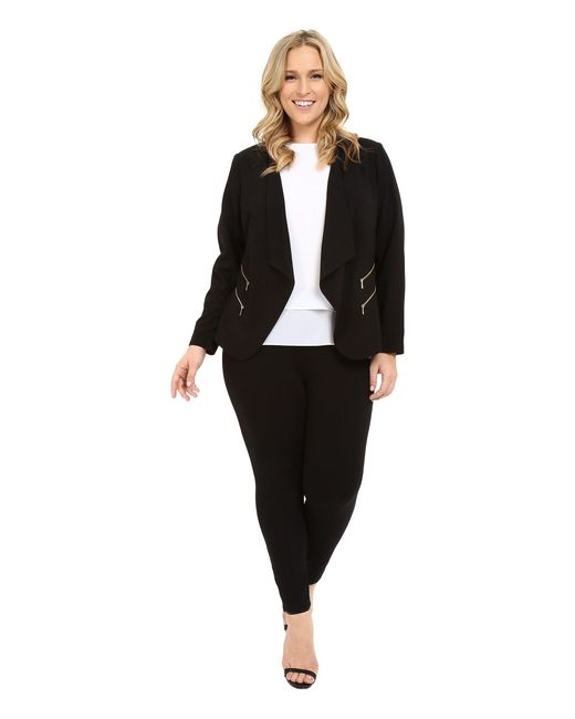 113f70f2aaa ... Calvin Klein - Black Plus Size 2 Zipper Jacket W  Fly Away - Lyst ...