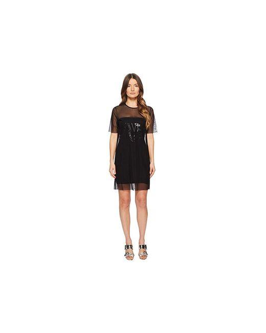 51040449ac892 Versace Jeans - Black Sheer Overlay Short Sleeve Dress (nero) Dress - Lyst  ...