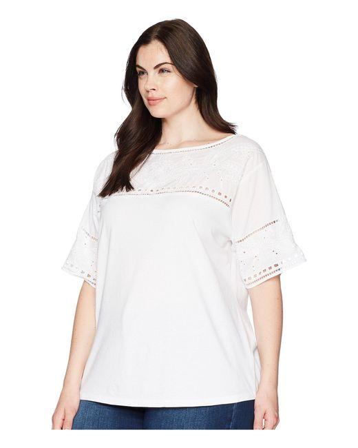 Lyst Lauren By Ralph Lauren Plus Size Eyelet Cotton Blend T Shirt
