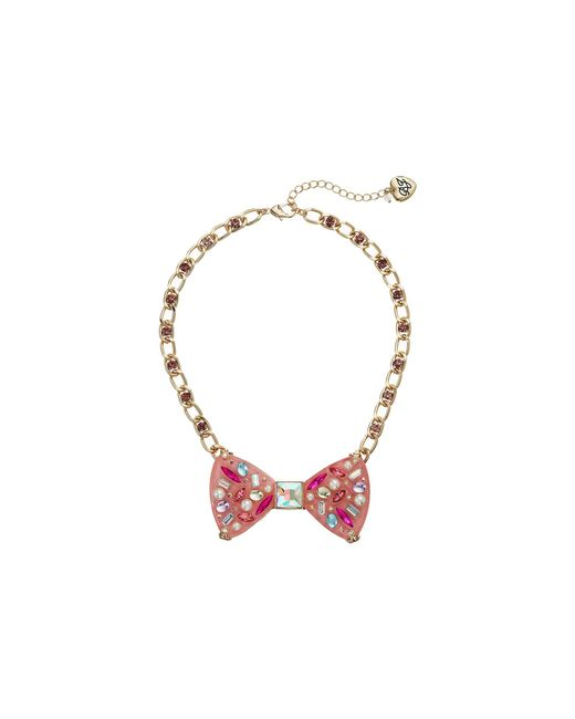 Betsey Johnson - Pink Bow Pendant Necklace - Lyst