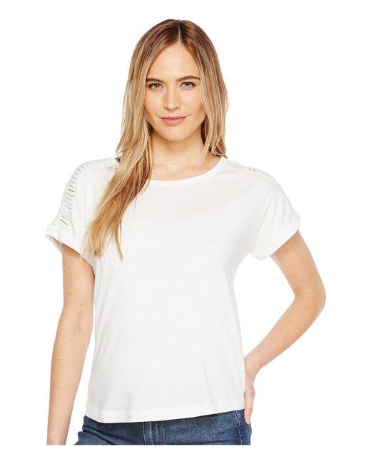 B Collection By Bobeau - White Nash Macrame Detail T-shirt - Lyst