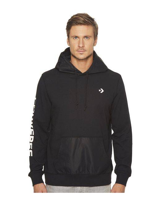 Converse - Black Mixed Media Pullover Hoodie for Men - Lyst