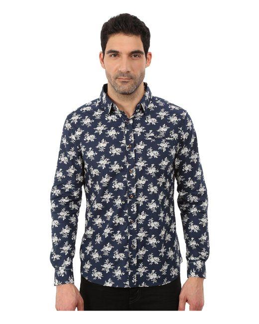 7 Diamonds - Blue Flourish Long Sleeve Shirt for Men - Lyst