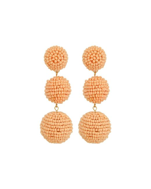 Kenneth Jay Lane - Multicolor 2 Peach Pink Seed Bead Wrapped Ball Post Earrings W/ Dome Top - Lyst