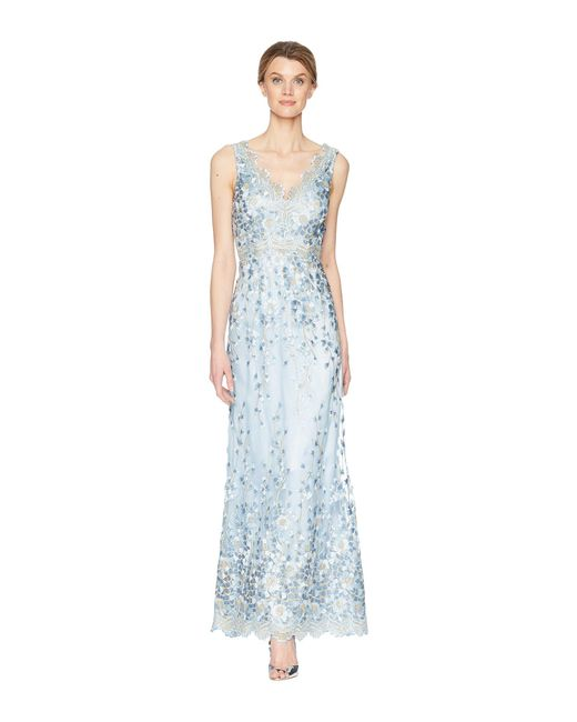 Tahari - Blue Embroidered Sleeveless Gown - Lyst