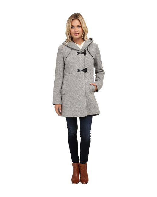 Jessica Simpson - Gray Braided Wool Duffle Coat With Hood - Lyst