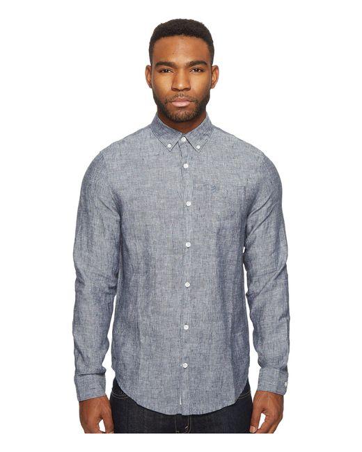 Original Penguin - Blue Long Sleeve Nep Linen Non-solid Solid Woven Shirt for Men - Lyst