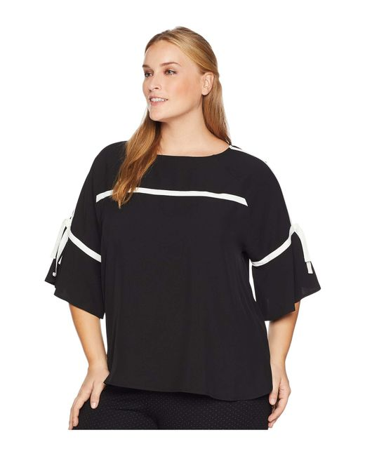 ac20b1095fb0ef Lyst - Calvin Klein Plus Size Flare Sleeve W pipng in Black - Save 55%