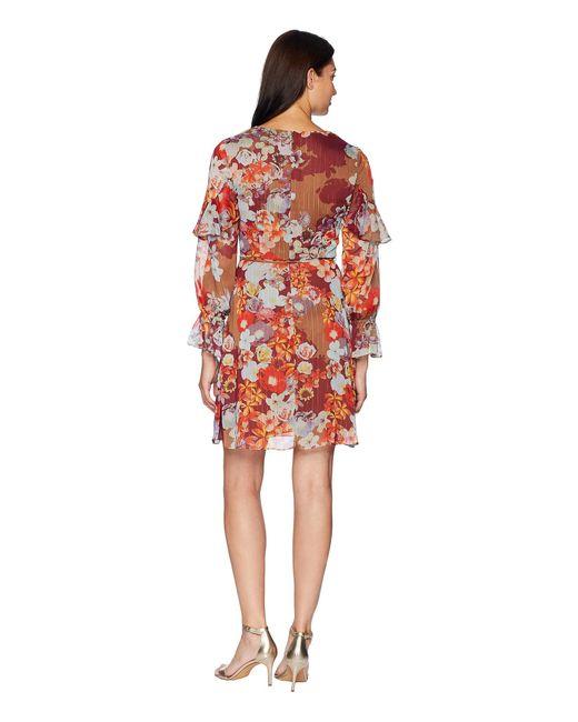 7ee84e41c52 ... Adrianna Papell - Red Floral Print Metallic Stripe Chiffon Ruffle Sleeve  Dress - Lyst ...