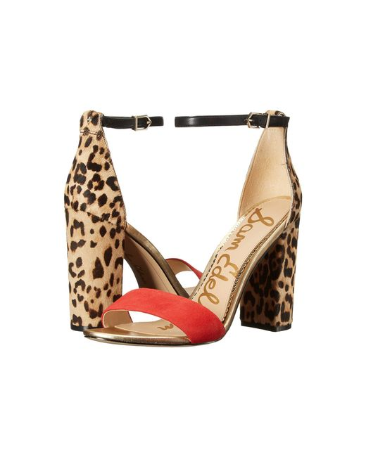Sam Edelman - Natural Yaro Ankle Strap Sandal Heel - Lyst