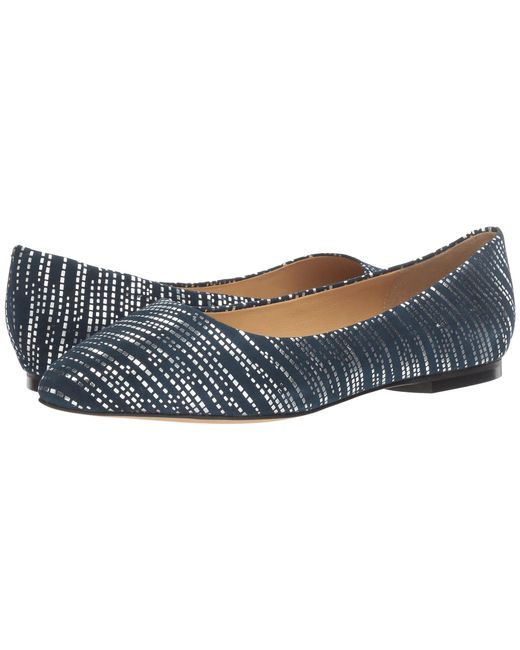 Trotters - Blue Estee Metallic Foil Suede Flats - Lyst