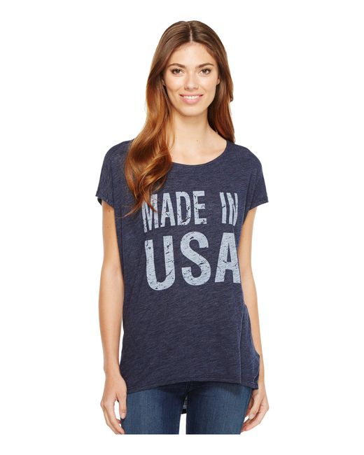 Allen Allen - Blue Made In Usa Cap Sleeve Tee - Lyst