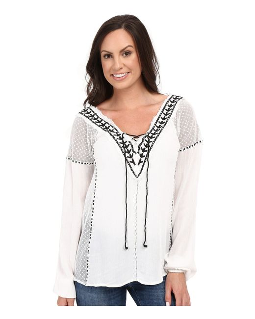 Scully - White Honey Creek Mackenzie Frayed Edge Top - Lyst