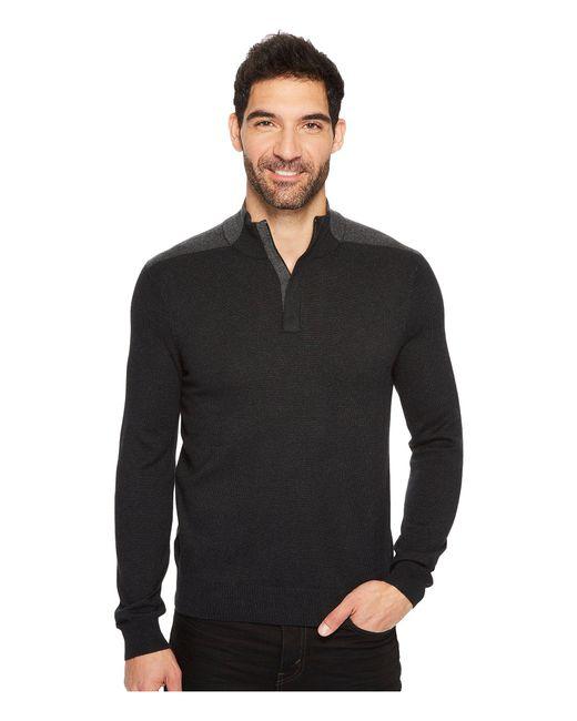 Perry Ellis - Black Color Block Quarter Zip Sweater for Men - Lyst