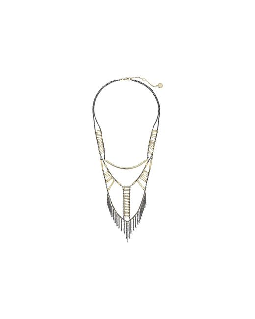 French Connection - Metallic Tube & Ladder Bead Necklace - Lyst
