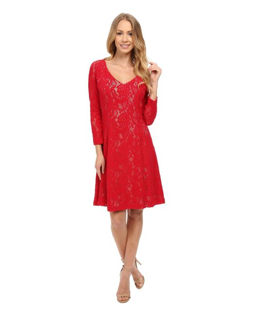 NYDJ - Red Amelia All Over Lace Dress - Lyst
