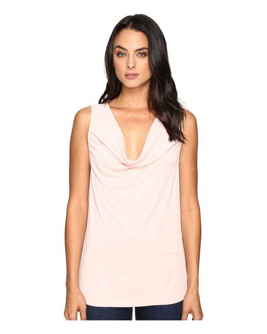 Three Dots - Pink Sleeveless Drape Front Top - Lyst