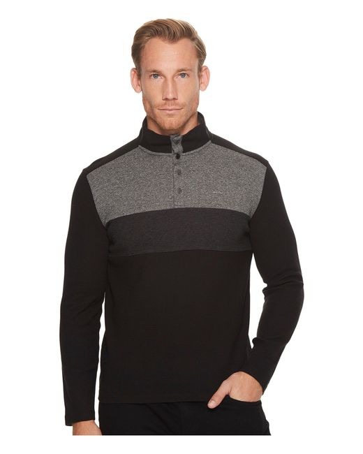 CALVIN KLEIN 205W39NYC - Black Color Blocked Chest Stripe 1/4 Snap Knit for Men - Lyst
