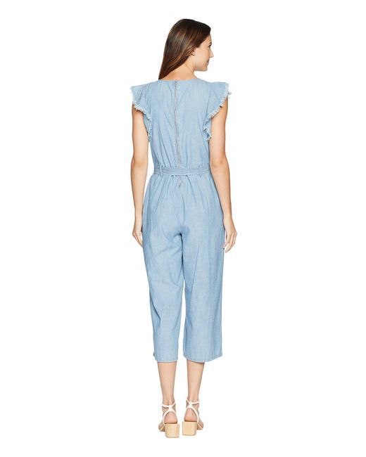 463c74ff81 ... Two By Vince Camuto - Blue Ruffle Sleeve Embroidered Tie Waist Jumpsuit  - Lyst ...