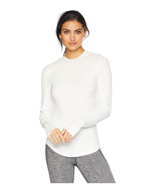 cc5a30128df0 Lyst - Free People Laura Long Sleeve Rib Top in White - Save 29%