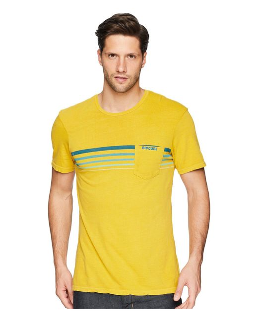 Rip Curl - Yellow Rubber Soul Custom Pkt Tee for Men - Lyst