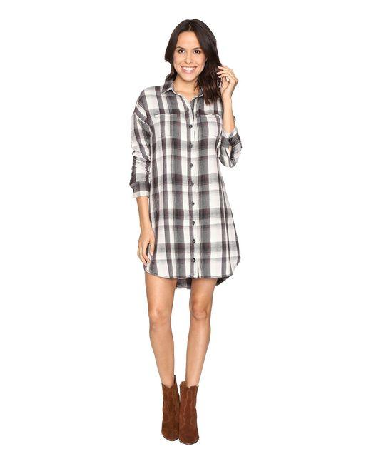 Alternative Apparel - Gray Yarn-dye Flannel Timberwood Shirtdress - Lyst
