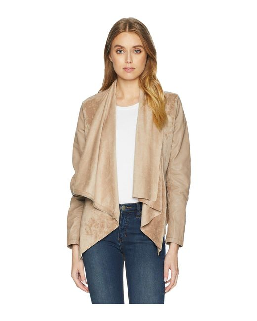 Blank NYC - Natural Faux Suede Drape Front Jacket In Hump Day - Lyst