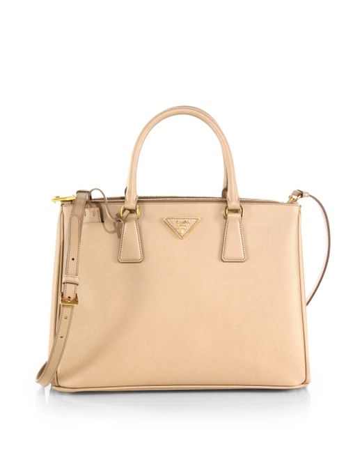 Prada | Natural Saffiano Lux Medium Double-zip Leather Satchel | Lyst