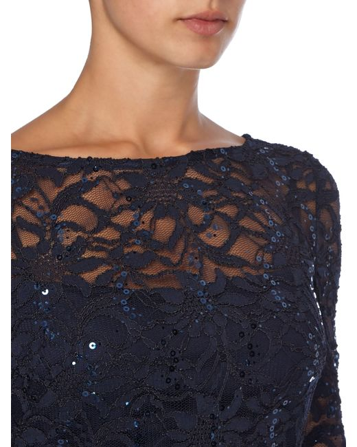 JS Collections | Blue Long Sleeve Dress With Sequin Lace | Lyst