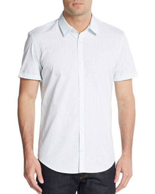 Calvin Klein | White Grid Print Cotton Shirt for Men | Lyst