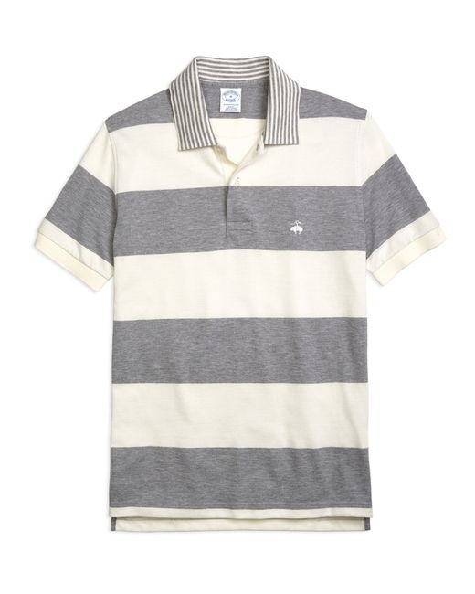 Brooks Brothers | Gray Slim Fit Engineered Rugby Stripe Polo Shirt for Men | Lyst