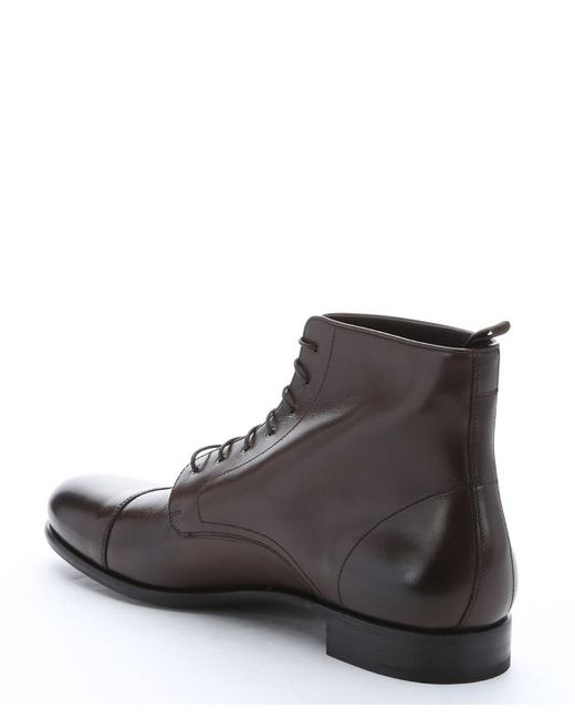 Prada Dark Brown Leather Lace-up Ankle Boots in Brown for Men | Lyst