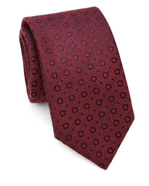 Saks Fifth Avenue | Red Circle & Square Silk/cotton Tie for Men | Lyst