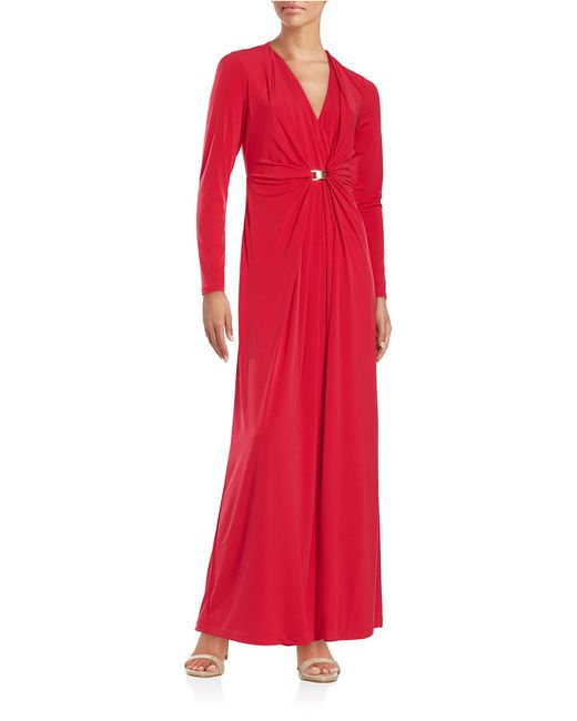 Calvin Klein | Red Draped Surplice Gown | Lyst